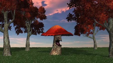 appear : angry big red mushroom appears and dies - blue sky video screen Stock Footage