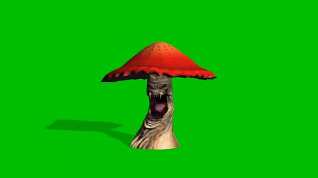 angry red mushroom looks around with shadow - green screen