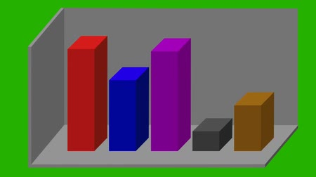animated 3D bar graph - different colors - green screen