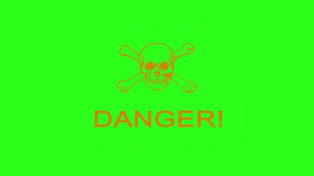 rubber stamp : danger spray paint on green screen Stock Footage