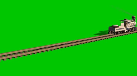 toy wooden train - green screen Vídeos