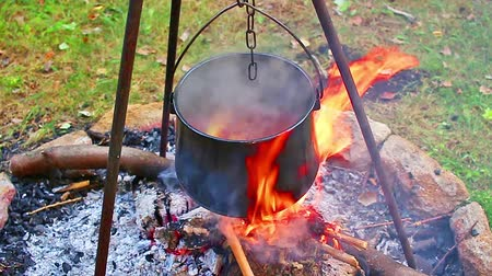 Stew camp fire cauldron camping. Outdoor cooking. Stok Video