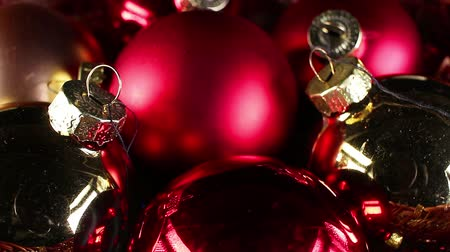 mbps : Christmas ornaments rotating closeup texture pattern background Stock Footage