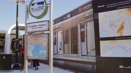 yunan : Thessaloniki, Greece metro station exhibit with sign. Part of an exhibition inside 83rd Thessaloniki International Fair. Thessaloniki metro will be operational by 2020. Stok Video