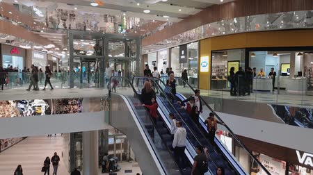 abriu : Nicosia, Cyprus crowd inside newly opened Nicosia Mall.  Internal view of people inside some of 150 shops at mall that opened its gates on November 21 2018.