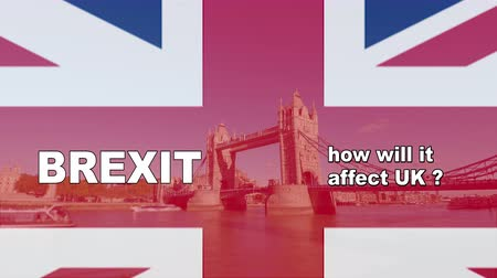abandonment : Brexit logo animated video concept with flag and title. Background London bridge view with ships on river Thames, while brexit and how will it affect uk titles are superimposed above British flag.