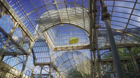 kader : Madrid, Spain Parque de El Retiro Palacio de Cristal internal without crowd. 1887 glasshouse Crystal Palace, made of glass in an iron framework with free entrance at Buen Retiro Park. Stockvideo