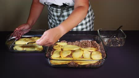 oregano : Greek moussaka dish recipe preparation. Hand adding at transparent bowl fried chopped potatoes above ground chopped beef meat with olive oil, salt, pepper, tomato, parsley onions & oregano.