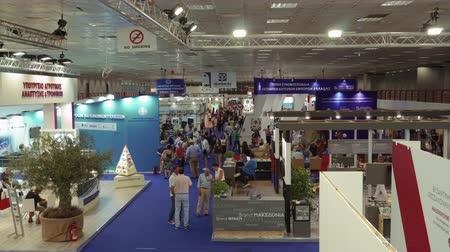 yunan : Thessaloniki, Greece 84rth International fair pavilions with crowd. Fair takes place from 7 to 15 September 2019. India is the honoured country this year. Stok Video