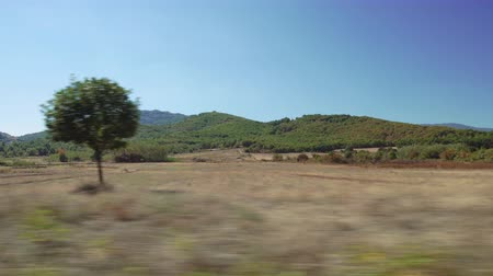 Rural scenery speeding car POV side window day sunny view motion blur. Point Of View looking through car open window, driving on empty road country side with green hills and plantation in Greece. Dostupné videozáznamy