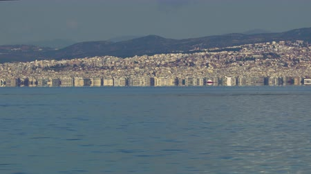 yunan : Thessaloniki, Greece landscape coastal view of the city centre. Day view of the capital of the Central Macedonia Greek administrative region with buildings seen on the Thermaic Gulf.