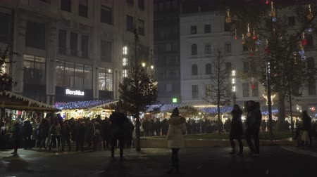 Budapest, Hungary Christmas Market with crowd at Vorosmarty square. Night view of festive decorations at traditional seasonal food and wine stalls. Dostupné videozáznamy