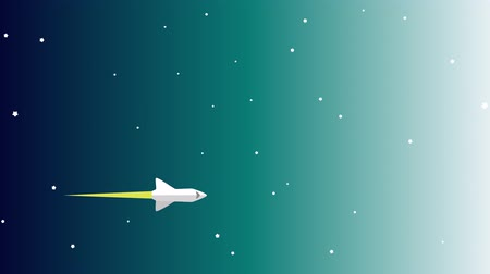 imaginário : Rocket Ship Flying Through Space Animation. Cartoon modern style rocket ship blasting off and explorating space Stock Footage