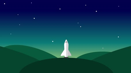imaginário : Rocket Ship rocket launch Flying Through Space Animation. Cartoon modern style rocket ship blasting off and explorating space