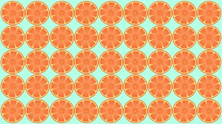 sok : Animation of oranges twirling motion graphics in bright red orange style.