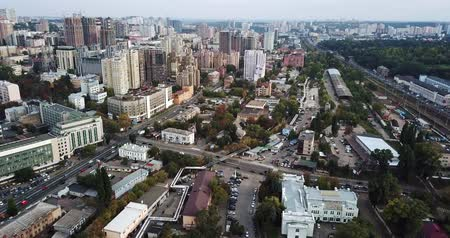 мостовая : Cityscape of Kyiv in Ukraine Стоковые видеозаписи