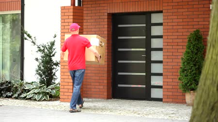 postacı : Professional courier delivering package to home Stok Video