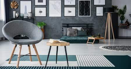 dizayn : Video of gray, black, blue and red armchairs changing room with gray and white living room interior. Stop-motion sequence Stok Video