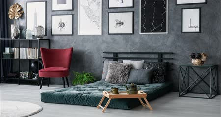 матрац : Video of a modern interior with pillows on green wall with changing armchairs