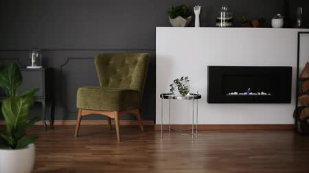 Burning eco fireplace in living room interior with green armchair, decor on shelf