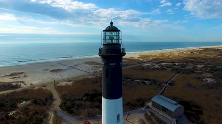 приморский : Lighthouse as seen by a drone on a sunny day