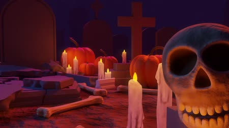 gravestone : An Animation of Cemetery Scene Ending with a Trick or Treat Sign Coming Out of a Grave Stock Footage