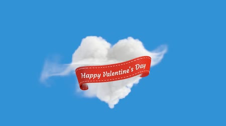 каллиграфия : An Animation of Blue Sky with Heart Shaped Cloud With Happy Valentine