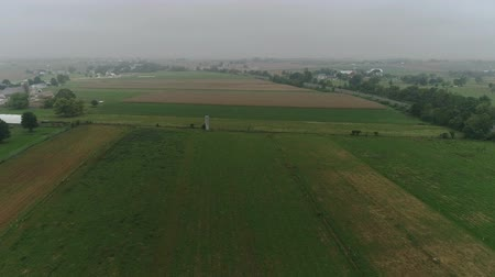 belga : Drone Aerial View of Amish Farm Lands and Amish Farmer Harvesting in Fog Stock Footage