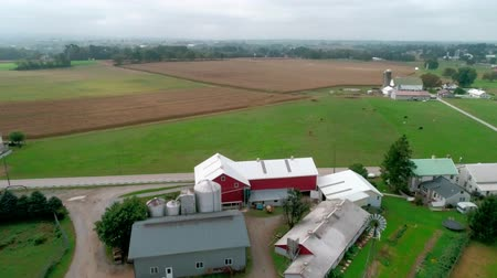 навес : Drone Aerial View of Amish Farm Lands and Amish Sunday Meeting