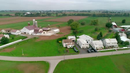 antiquado : Drone Aerial View of Amish Farm Lands and Amish Sunday Meeting