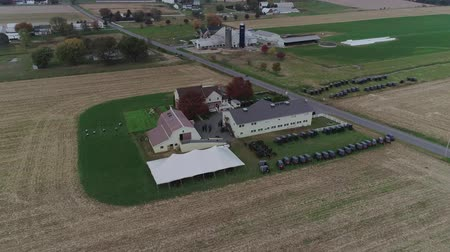 sacramento : Boda Amish en una Granja Amish Capturada por un Dron Archivo de Video