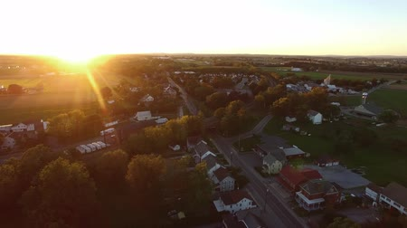 Aerial View of the Golden hour in small town Pennsylvania