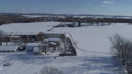 Aerial View of Morning Snow over Amish Countryside