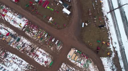 Aerial View of Getting Ready for an Amish Winter Mud Sale Stockvideo