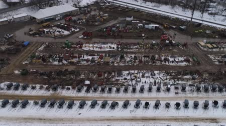 stain : Aerial View of Getting Ready for an Amish Winter Mud Sale Stock Footage