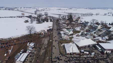 Aerial View of an Amish Winter Mud Sale in the Mud Wideo