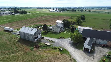 harvesting : Aerial View of Amish Farm and Countryside