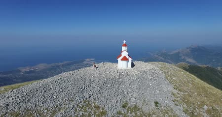 antivari : aerial view of Chapel on top of Mount Rumija, Bar city, Montenegro