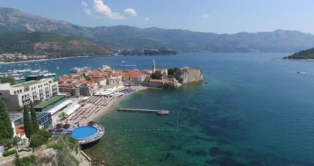 Черногория : aerial view to the Old Town of Budva in Montenegro