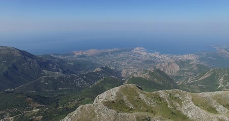 горный хребет : aerial view of mountain landscape. Adriatic sea coast, Montenegro