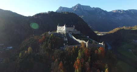 saray : Aerial view of alpine castle Werfen Hohenwerfen near Salzburg, Austrian Alps, Austria Stok Video