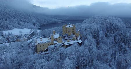 realeza : Aerial view of  Hohenschwangau Castle at sunrise in winter landscape. Germany Vídeos