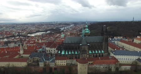 cseh : Aerial view of Prague, Bohemia, Czech Republic. Hradcany is the Praha Castle with hurches, chapels, halls and towers from every period of its history.