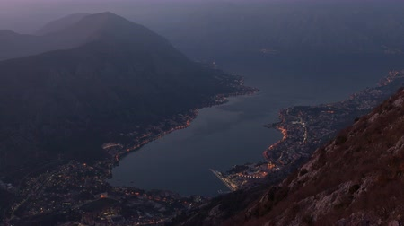 Черногория : Kotor Bay on sunset Стоковые видеозаписи