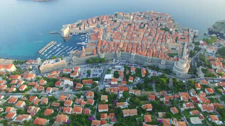dalmácia : aerial view of the cableway above Dubrovnik at sunset.