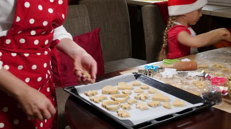 kötény : Mother and daughter are preparing gingerbread for Christmas Stock mozgókép