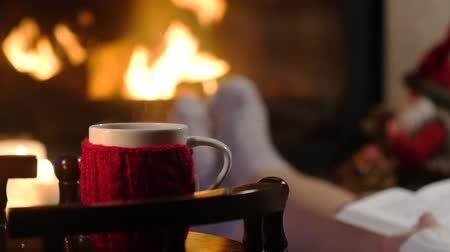 defter : Woman is sitting with cup of hot drink and book near the fireplace Stok Video