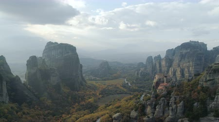 evangelical : Aerial view of the Meteora rocky landscape and monasteries in Greece.