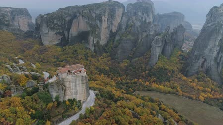 meteorou : Aerial view of the Meteora rocky landscape and monasteries in Greece.
