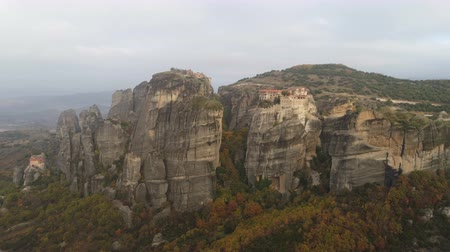 hacı : Aerial view of the Meteora rocky landscape and monasteries in Greece.